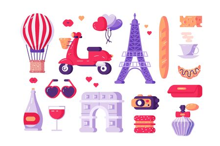Paris famous symbols set illustration. Collection consists of travel landmark sightseeing entertainment traditional dishes and drinks flat style design. Travelling concept. Isolated on white