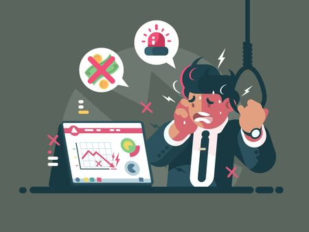 Trader in panic and anxiety. Fall of market and crisis. illustration