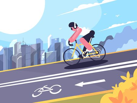 Cyclist wearing headphones on track for cyclists. flat illustration Foto de archivo