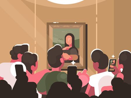 Mona Lisa painting at exhibition in picture gallery. Group of visitors photographing a work of art. illustration
