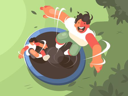 Two guys jumping on trampoline. Fun entertainment and recreation. illustration