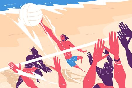 Young people playing volleyball vector illustration. Fun and active sport game on beach flat style. Hot summer weather. White ball and people hands. Sand and ocean. Vacation concept Ilustracja