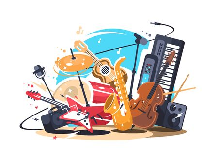 Musical instruments on stage. Guitar and drum set, saxophone and double bass. illustration Zdjęcie Seryjne
