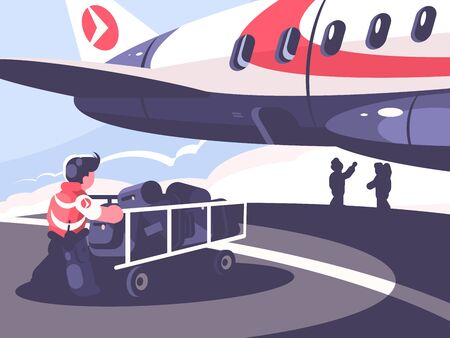 Loading of luggage in plane. Airport employee with baggage cart. illustration