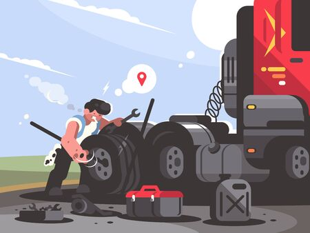 Truck driver is repairing car. Trucker lorry changes wheel. illustration