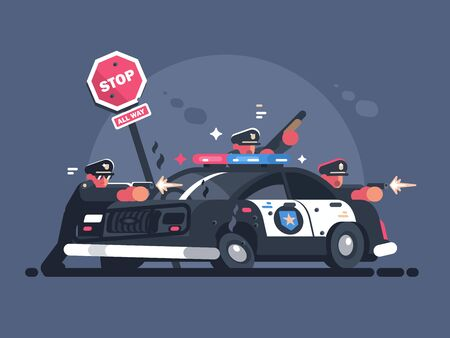 Police patrol fires from behind car. Attack of criminals. illustration