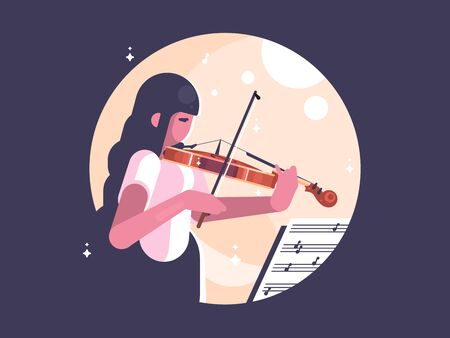 Girl playing violin. Learn to play musical instrument. illustration