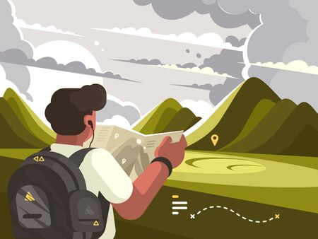 Traveler man with map planning walking route to mountains. illustration