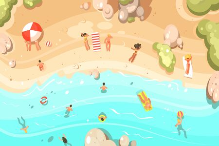 Summer sandy beach with vacationers. People swim and sunbathe. illustration