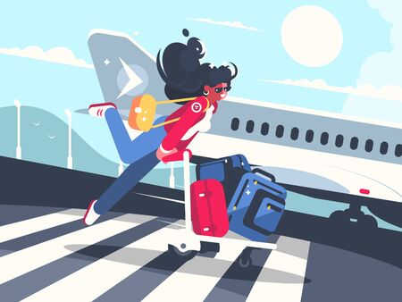 Girl carrying baggage on trolleys for flight. Air transportation service. illustration