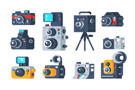 Different types of cameras set illustration. Collection of retro and modern digital camcorder flat style concept. Professional photography school or photo studio design. Isolated on white