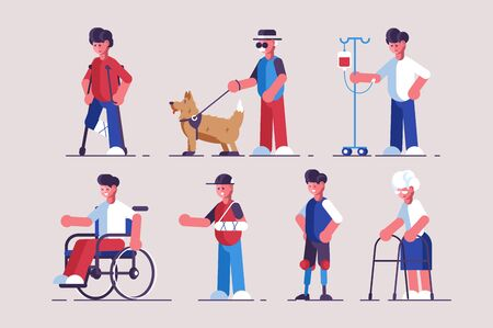 Disabled characters set illustration. Collection consists of handicapped flat style concept. People with disabilities such as broken leg hand blindness prosthetic