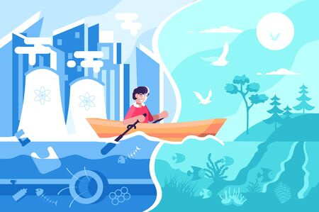 Man swimming on boat from town to nature illustration. Happy male sailing from polluted city to picturesque ecologically clean place flat style concept