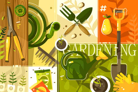 Gardening abstract background. Tools for garden, shovel and secateurs, illustration
