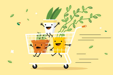 Shopping cart with plants vector illustration. Potted plants with emoji faces in trolley flat style design. Best offer. Sale and discount sell-out concept Ilustracja