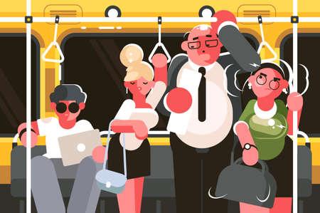 Passengers in subway car