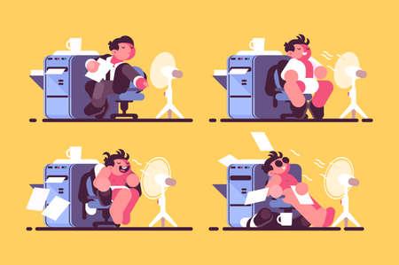 Man in office cooled by fan