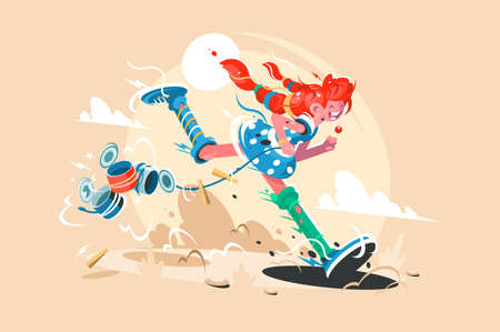Fairy tale girl character long stocking