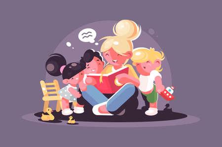Mom reads fairy tale book for kids Standard-Bild