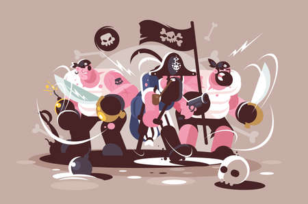 Group of mad pirates with bombs and swords weapon Standard-Bild