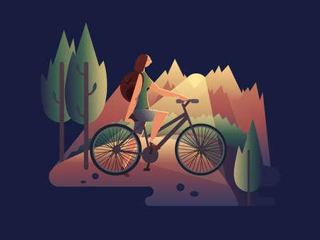 Girl on bicycle at sunset Standard-Bild