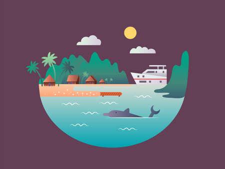 Yacht floats near the tropical shores Standard-Bild