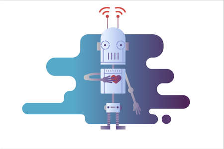 Robot isolated in white Standard-Bild