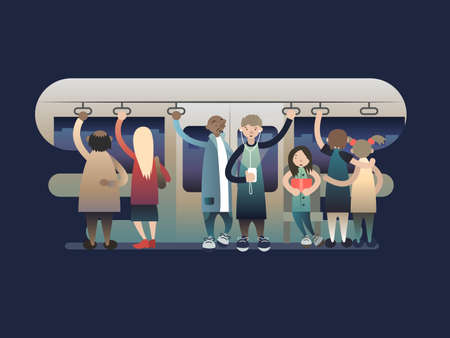 Onlookers passengers in trasport