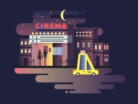 Cinema building night