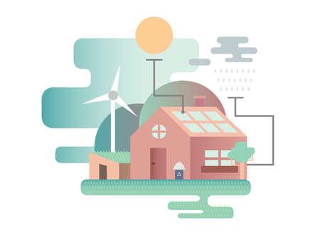 Eco house design flat Standard-Bild