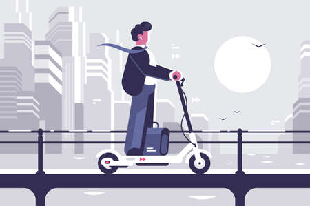Young man riding electric scooter modern cityscape Standard-Bild