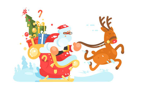 Santa Claus rides in sleigh