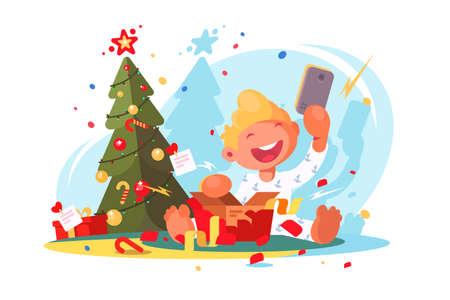 Child opens Christmas present. Illustration