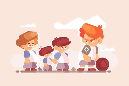 Boy fighter with good kids outside. Little disgruntled child standing clenched fists with ball vector illustration. Different children characters flat style concept Vector Illustratie