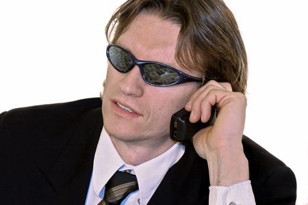 corporate greed: Buiness man with money reflection in sunglasses Stock Photo