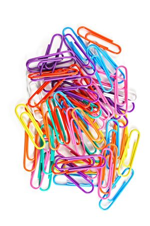 Bunch of paper clips is various colors photo