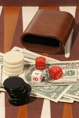 Gambling board with US dollar bills