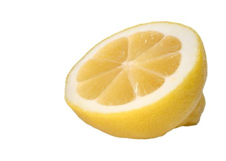 sectioned: Cross sectioned lemon on white background