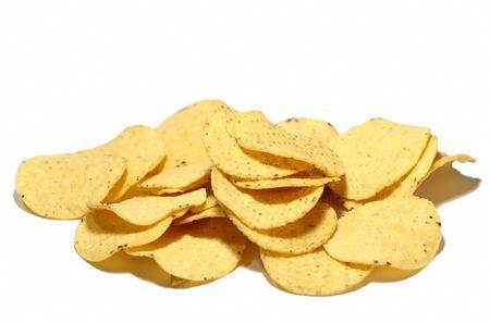 nacho: Bunch of nacho chips on white background Stock Photo