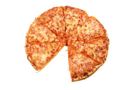 gone: Pizza with one slice gone on white background Stock Photo