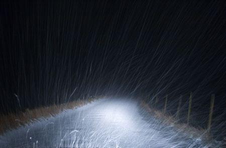 Hail, headlights and narrow rural road