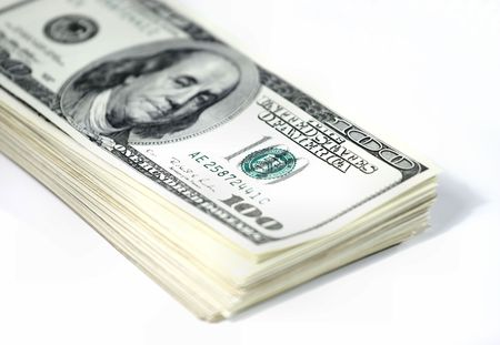 hoard: Stack of US dollar bills Stock Photo