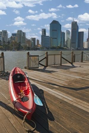 Kayak beside Brisbane river Stock Photo