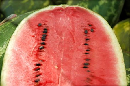 Aerial view of juicy red watermelon with seeds