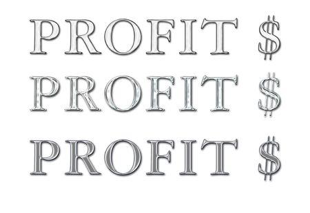 platinum: Chrome  metal  steel  platinum word Profit with dollar sign