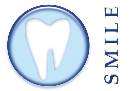 A dental molar tooth with smile text button logo photo