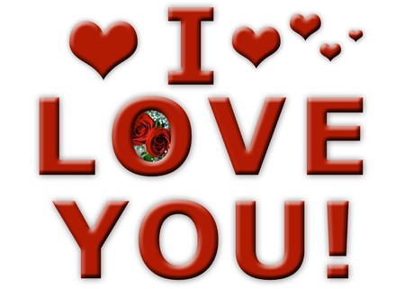 I Love You sign for Valentines Day with a pair of red roses and 3d hearts