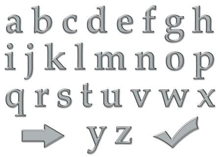 platinum: Platinum plastic chrome letter alphabet with arrow pointer icon and checkmark