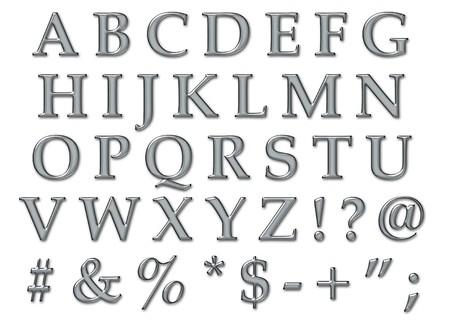 Platinum plastic chrome alphabet letters in uppercase photo