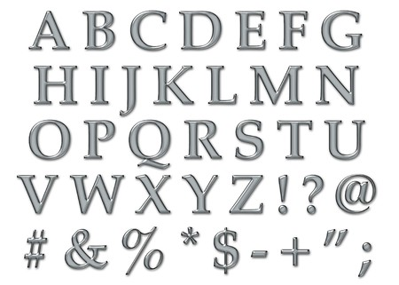 chrome: Platinum plastic chrome alphabet letters in uppercase